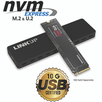 LINKUP NVMe SSD Enclosure, M.2 to USB C 10Gbps Adapter with Aluminum Case, USB 3.1 Gen 2 (10 Gbps) to PCIe Gen 3 x2 Bridge Chip | for Windows & Mac |, Fit for Samsung 960/970 EVO/PRO WD Black NVME SSD
