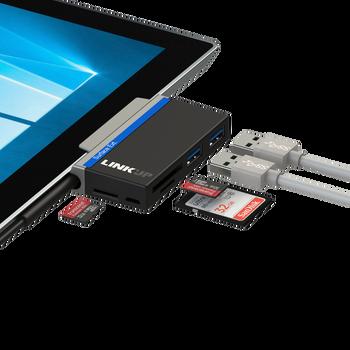 LINKUPExpansion Hub – 2X USB 3.0, 1x SDXC, 2x Micro SDXC / TF Card Slots - Compatible with Microsoft Surface GO