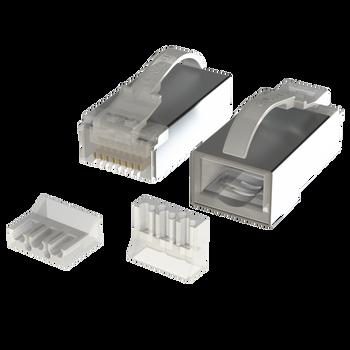 [LINKUP] Snagless RJ45 Cat6 STP Connectors | Ethernet Cat 6 8P8C Plugs | STP Gigabit Round Cable Connector | Platinum 50 Mi Gold Plated High Performance | 50 Pack