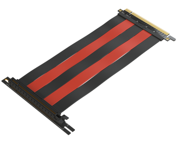 LINKUP {30 cm} PCIE 3.0 16x Shielded High Speed Riser Cable Premium PCI Express Port Extension Card   Universal 90 Degree Socket - Black&Red