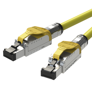 LINKUP - [GHMT & DSX8000 Certified] Cat8 Ethernet Patch Cable S/FTP 22AWG Double Shielded Solid Cable | 2000Mhz 2Ghz 40Gbps | 5th-Gen Ethernet LAN Network 40G Structure Wires - |Yellow| 2 M (6.7ft)