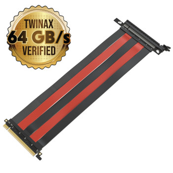 LINKUP PCIE 3.0 16x Shielded High Speed Riser Cable Premium PCI Express Port Extension Card   Straight Socket {30 cm}- TT Compatible Black & Red