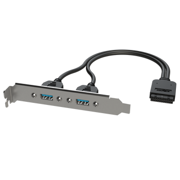 LINKUP - Dual USB 3.0 Type-A Female Panel Mount to Motherboard USB 3.0 Internal IDC 20 Pin Header Adapter