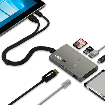 LINKUP - Surface Pro 6/5/4/3/2 Compatible SD Card Reader Adapter Hub | 8-in-1 Docking Station | 4K HDMI SATA SSD 2x USB-A 3.0 1G Ethernet SD USB-C |Mini DP USB3 Inputs for Both Mac/Windows