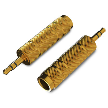 """LINKUP - 3.5mm Stereo Male to 1/4"""" TRS Stereo Female - Heavy-Duty Connector Adapter-2Pack"""