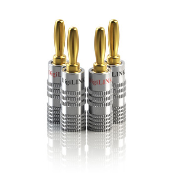LINKUP - Banana Plug Audio Connector 2 Pairs (4 pieces) - Closed Screw 24K Gold Plated Banana Speaker Plug Connectors for Speaker Wire, Home Theater, Audio/Video Receiver, Amplifiers & Sound Systems