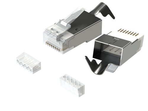 RJ45 Connectors Cat6A Ethernet Shielded Modular Plugs |22AWG| 10G STP Gold-Plated [50-Pack]