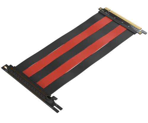 20 cm - PCIE 3.0 16x Shielded Riser Cable Premium | 90 Degree Socket - Black & Red