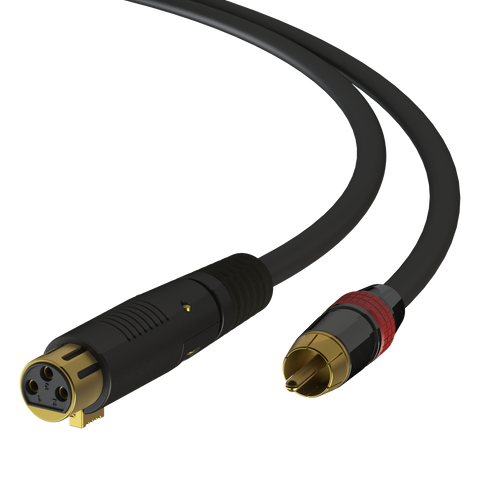 3ft - XLR Female to RCA Male Cable - Silver-Coated 22AWG