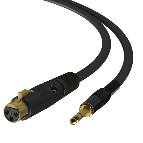 """3ft - XLR Male to TRS Male 1/4"""" Microphone Cable - Silver-Coated 22AWG"""