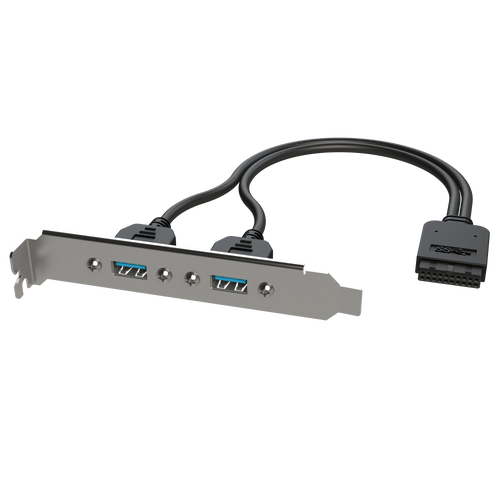 USB 3.0 IDC 20 Pin Header to Dual USB 3.0 Type-A Female Panel Mount - 20cm