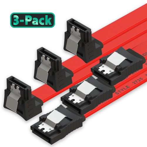 SATA Cable (3-Pack) High-Speed SATA III 6GB/s Right/Straight HDD SSD Connector Adapter - 38 inch