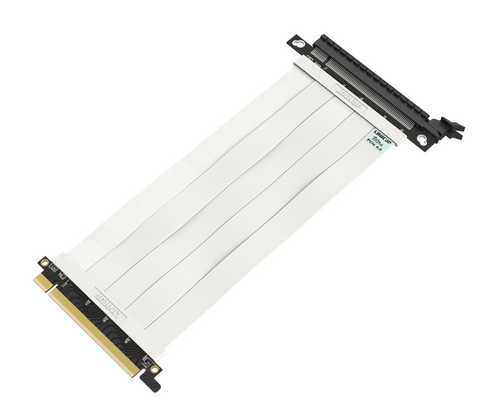 25cm - Ultra PCIe 4.0 X16 Riser Cable Extreme - Straight Socket - White