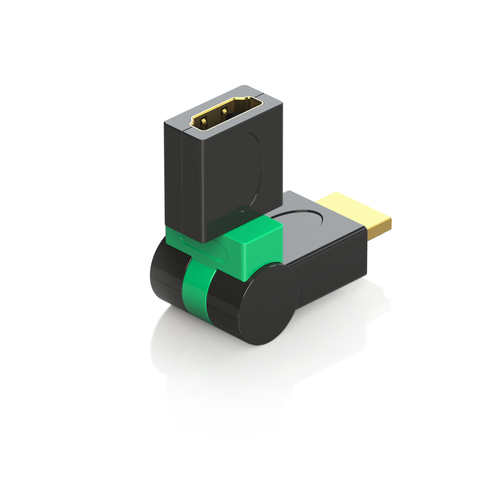 HDMI Female to HDMI Male 360 Swivel Adapter Connector Plug | 24K 50μ Gold-Plated Heavy-Duty