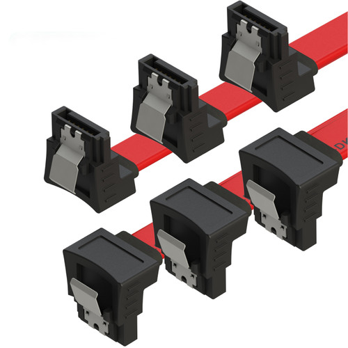 SATA Cable (3-Pack) High-Speed SATA III 6GB/s Right/Right HDD SSD Connector Adapter - 38 inch