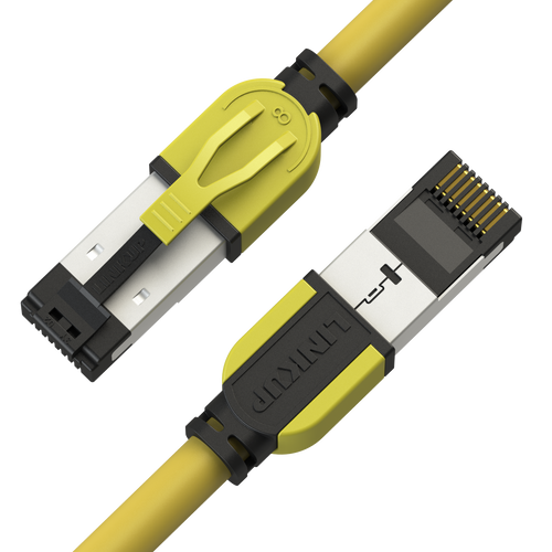 Cat8 Ethernet Patch Cable 26AWG Double Shielded | 40Gbps |0.3 M (1 FT) - Yellow