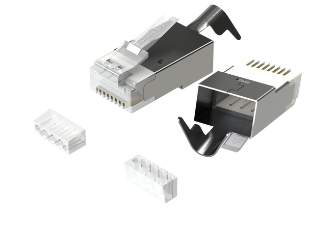 [LINKUP] RJ45 Connectors Cat6A Ethernet Shielded Modular Plugs | for Large Diameter Wires (22AWG) Termination | 10G STP Gold-Plated [50-Pack]