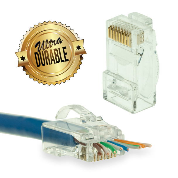 [LINKUP] Snagless RJ45 Cat6 UTP Connectors EZ Pass Through Ends | Ethernet Cat 6 8P8C Solid Plug | UTP Gigabit Round Cable Connector | Platinum 50 Mi Gold Plated High Performance | 100 Pack