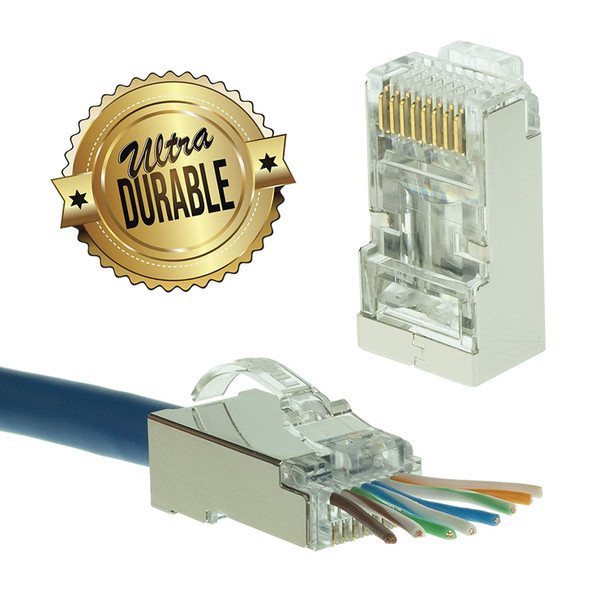 [LINKUP] Snagless RJ45 Cat6 STP Connectors EZ Pass Through Ends | Ethernet Cat 6 8P8C Solid Plugs | STP Gigabit Round Cable Connector | Platinum 50 Mi Gold Plated High Performance | 100 Pack