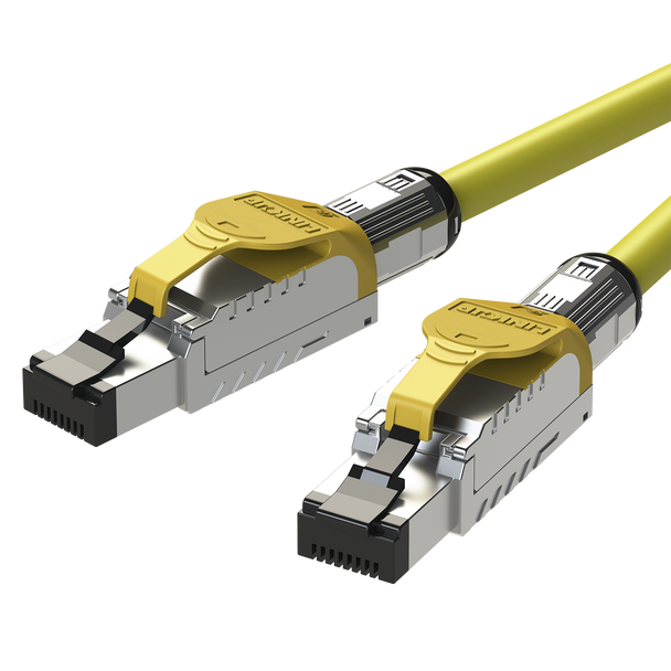 LINKUP - [GHMT & DSX8000 Certified] Cat8 Ethernet Patch Cable S/FTP 22AWG Double Shielded Solid Cable | 2000Mhz 2Ghz 40Gbps | 5th-Gen Ethernet LAN Network 40G Structure Wires - |Yellow| 5 M (16.5ft)
