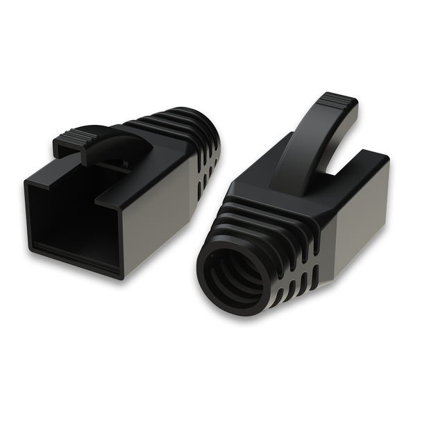 [LINKUP] RJ45 Connector Boots for Large Diameter Wires | Fits Cat6A Modular Plugs | for Round Cable | Black [50 Packs]