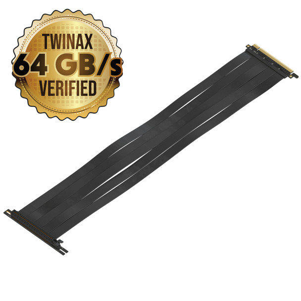 LINKUP {50 cm} PCIE 3.0 16x Shielded Twin-axial Riser Cable Premium PCI Express Port Extension Card | 90 Degree Socket