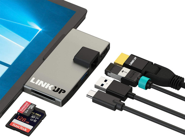 LINKUP - Surface Pro 7 Compatible SD Card Micro Memory Reader Adapter Hub | 6-in-1 Docking Station | 4K HDMI, Gigabit Ethernet, SD/Micro SD Card Slots, 1 x USB-A 3.0, 1 x USB-C |