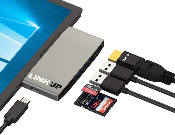 LINKUP - Surface Pro 7 Compatible SD Card Micro Memory Reader Adapter Hub | 6-in-1 Docking Station | 4K HDMI, SD/MicroSD Card Slots, 2 x USB-A 3.0, 1 x USB-C Ports |