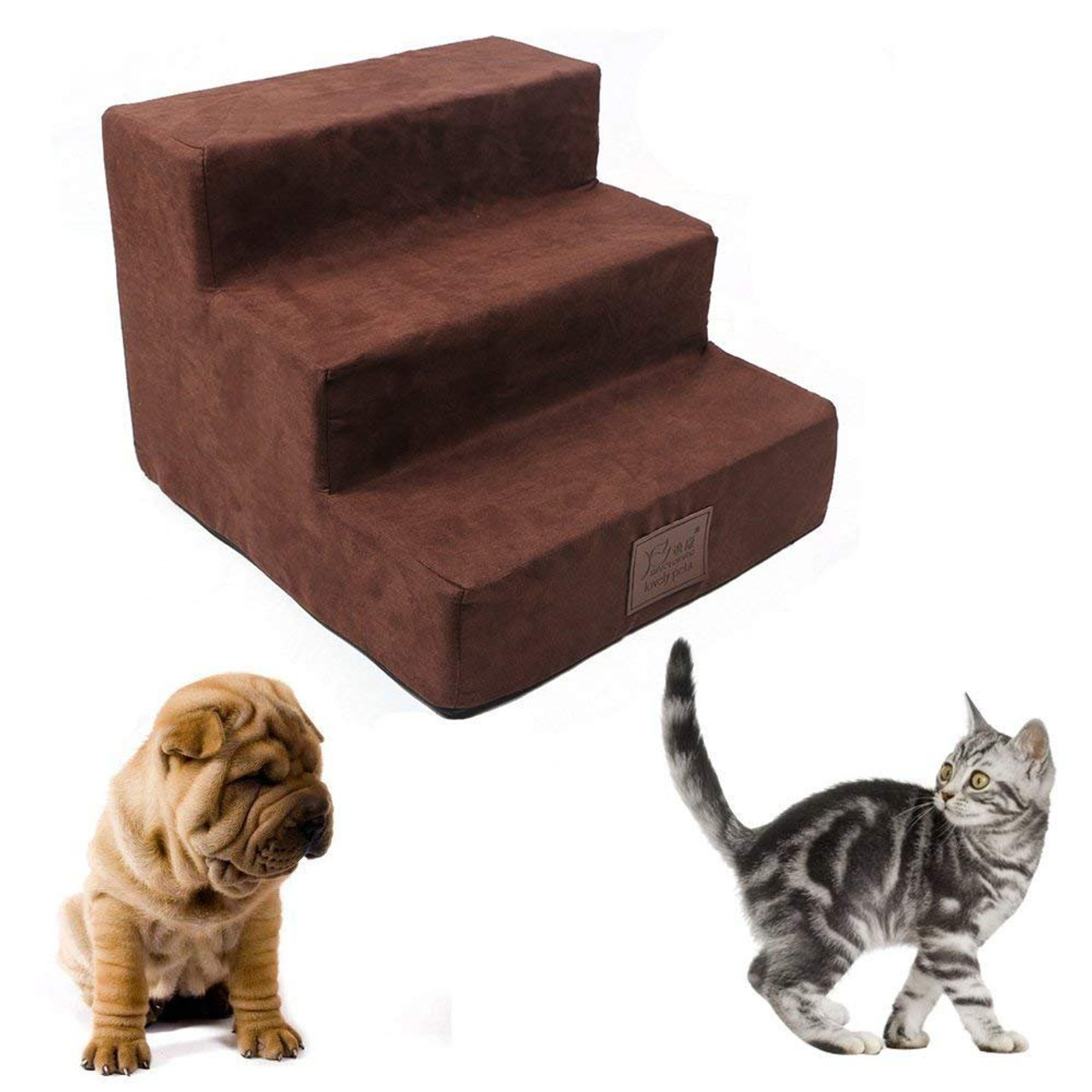 3 Steps Folding Pet Stairs Ramp Ladder Removable Cover for Cats Dogs Dog Stairs by Cozy Pet
