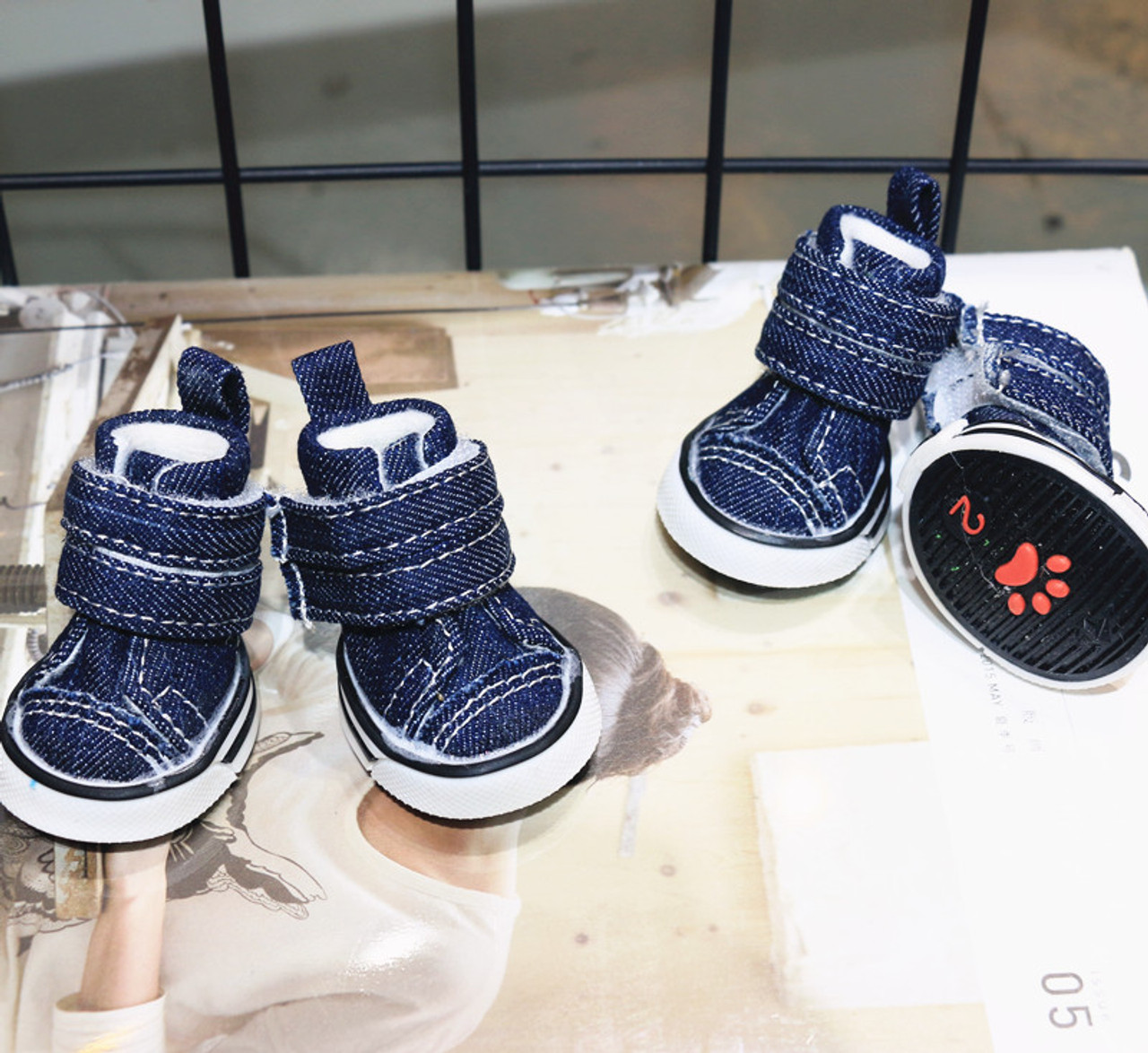4pcs Pet Dog Denim Shoes Teddy Yorkie Sport Casual Anti Slip Sneaker
