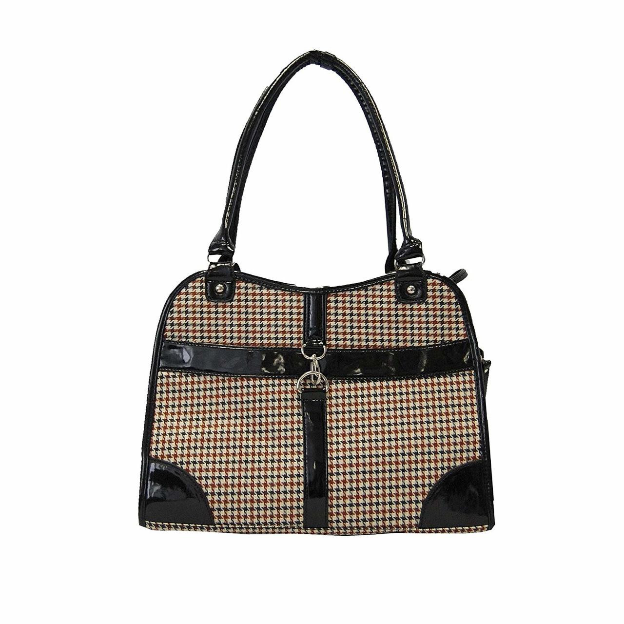 Houndstooth Print Foldable Pet Carrier Purse for Dog d95b92a8f39ef