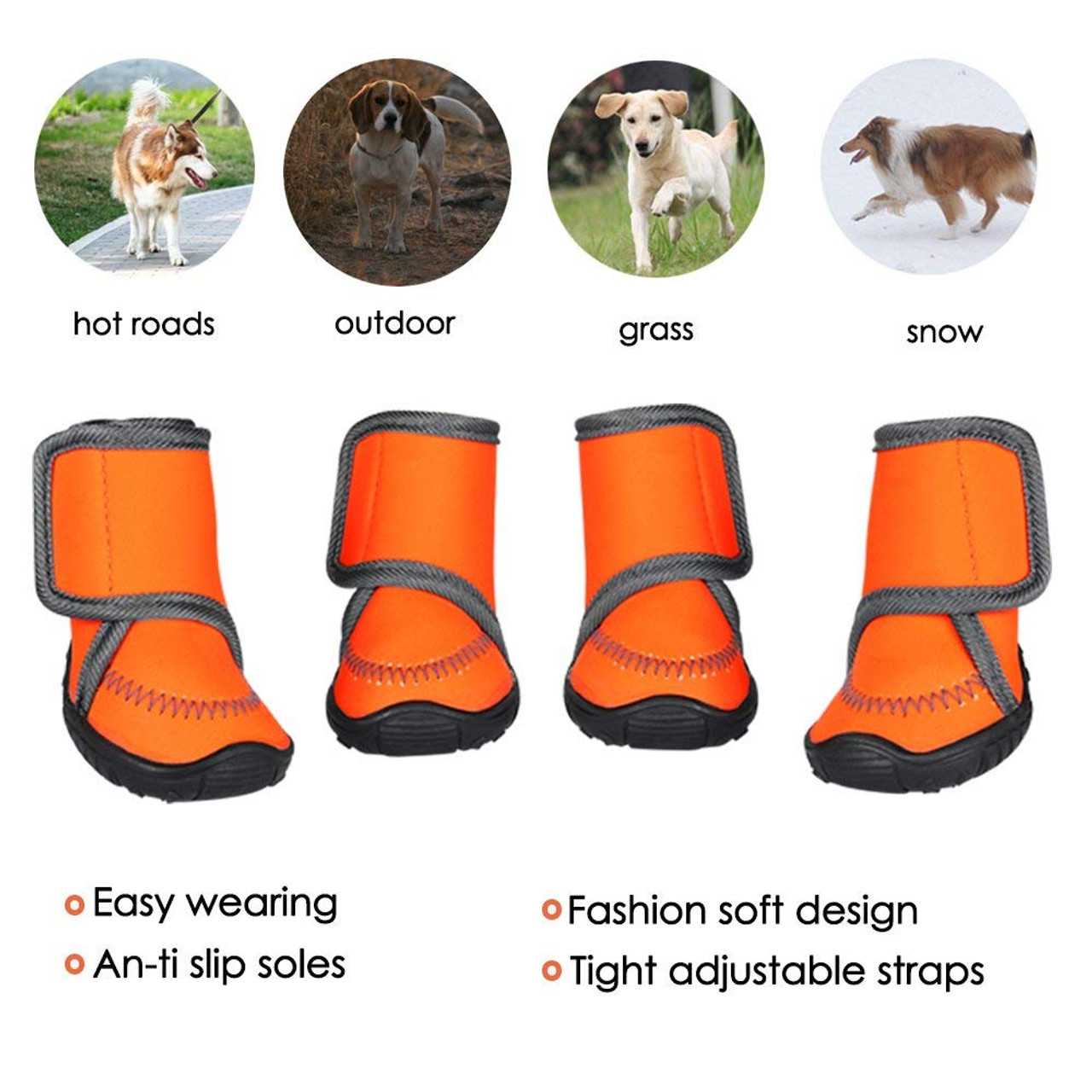 f5bdc8c5a80 Dog Shoes with Adjustable Straps Dog Boots Waterproof Paw Protectors