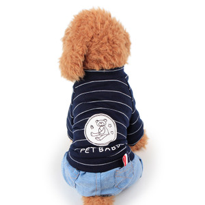 168a58227aba Bear Stripe Blue Cowboy Four Foot Clothes Dog Clothes Pet Clothes Teddy ...