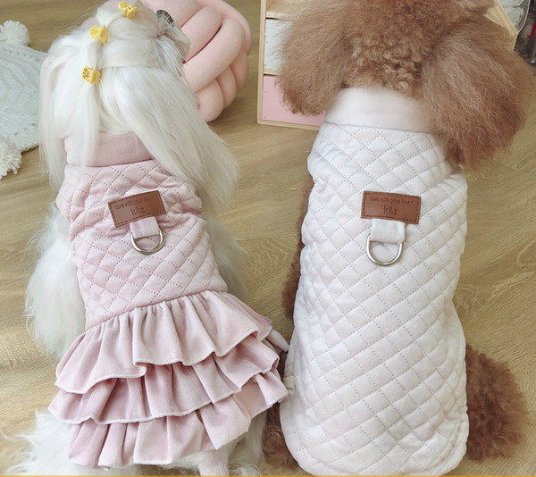 Small Dog Winter Pink Vest And Dress Cotton Couple Suit