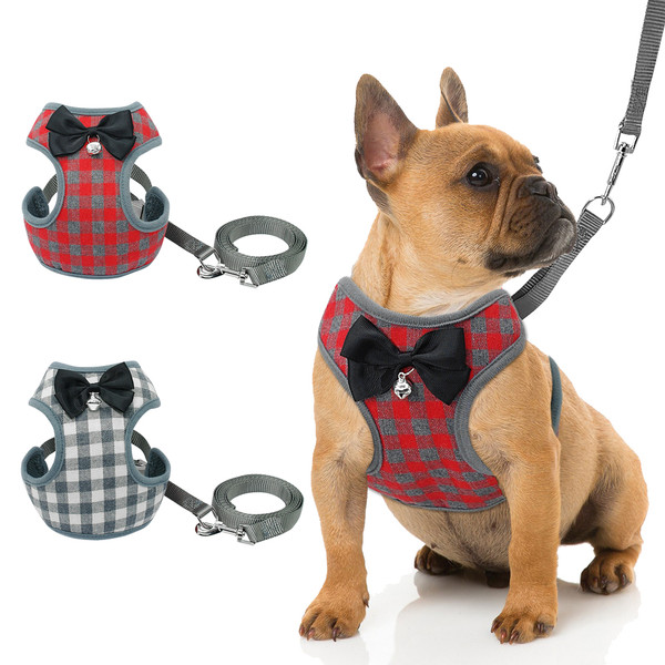 Harness and Leash Set Pet Cat Vest Harness With Bowknot