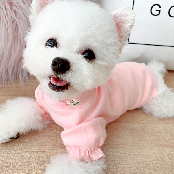 Puff Sleeve Bottoming Cat Clothes Teddy Pet Dog Summer Small Dog Thin Section Clothing