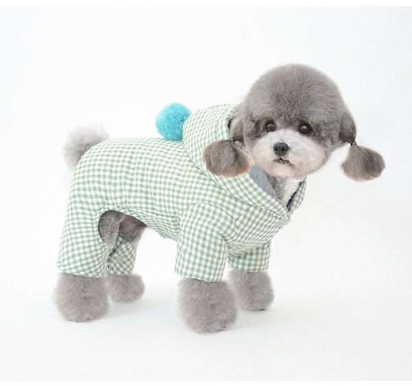 Clothes Pet Grid Clothing Warm Removable Puppy Cute Hooded Coats Plaid Jacket