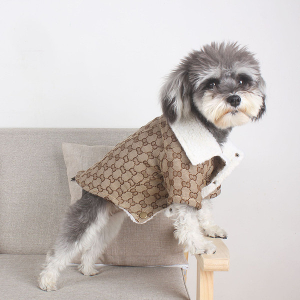 Winter Warm Cotton-Padded Clothes Teddy Pomeranian Schnauzer Clothes Lamb Velvet Thick Coat