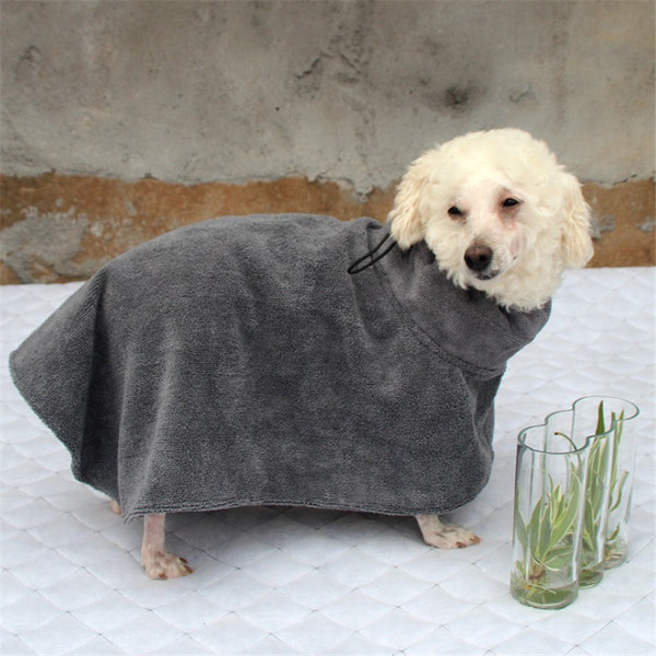 Gray Pet Dog Cat Bath Robe Towel Puppy Big Dog Batch Bathrobe bf07877b8