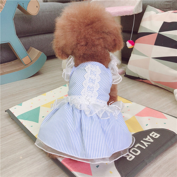 new arrival e5e74 ca307 Blue Pet Dog Clothes Spring And Summer Teddy Dress Skirt Suit
