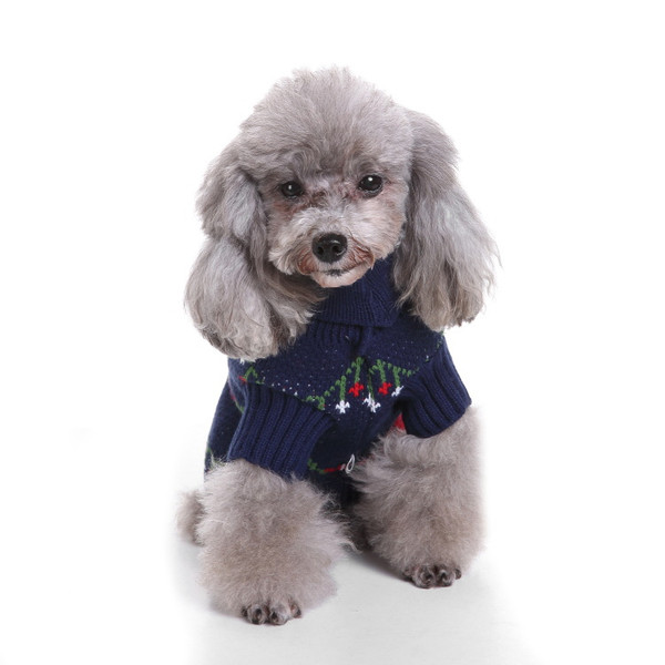 Dog Christmas Sweater.Blue Pet Christmas Sweater Knit Turtleneck Pet Clothes Sweater