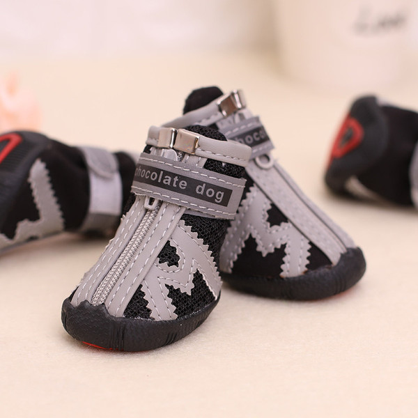 4 Pics Gray Outwear Puppy Breathable Mesh Summer Dog Shoes