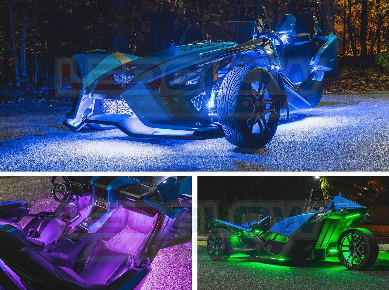 4pc 20 Color Led Wireless Remote Polaris Slingshot Motorcycle Led Light Kit USA