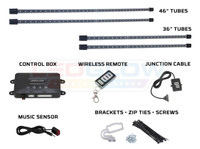4pc Blue Wireless SMD LED Underbody Lighting Tubes, Control Box, Wireless Remote, Junction Cable, Music Sensor & Installation Accessories