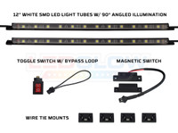 "2pc 12"" White SMD LED Light Tubes, Toggle Switch & Magnetic Switch"