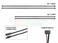 4pc Slimline Underbody Tubes, Plug & Play Connectors & Power Switch