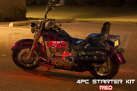 4pc Classic Red Motorcycle Lighting Kit