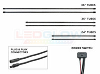 Red LED Slimline Truck Underbody Tubes, Plug & Play Connectors & Power Switch
