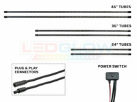 Pink Slimline LED Underbody Tubes, Plug & Play Connectors & Power Switch