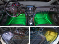 4pc 7 Color LED Car Interior Lights - Green, White, Yellow